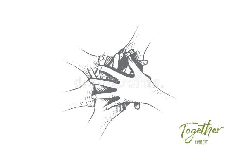 Samen concept Hand getrokken geïsoleerde vector royalty-vrije illustratie