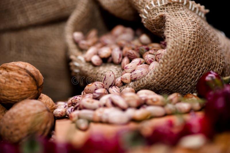 Samen der frischen Bohne mit getrocknetem Pfeffer und Nüssen beim Weinleseverpacken lizenzfreies stockbild