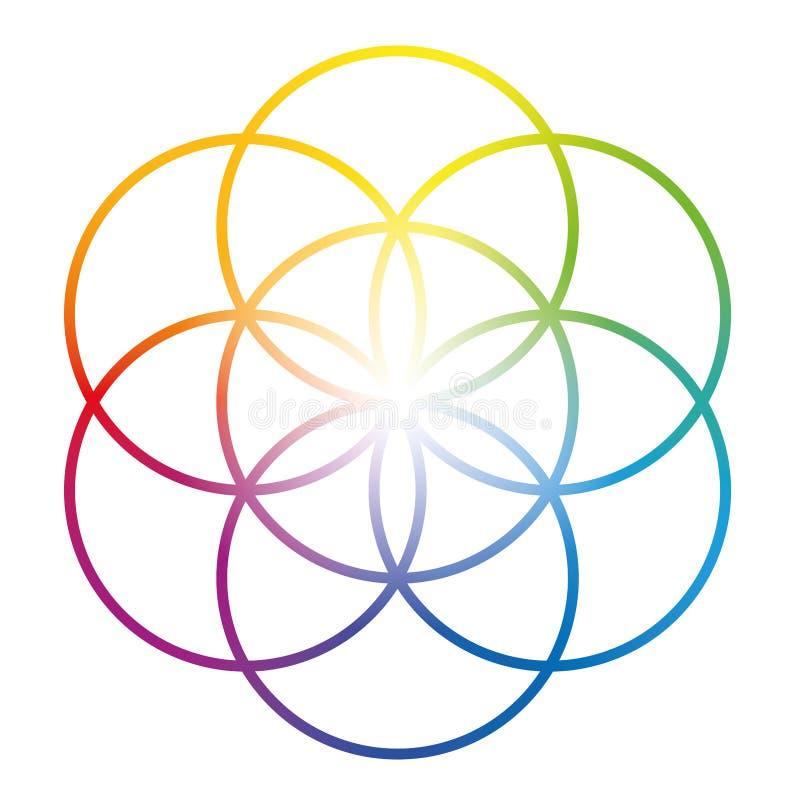 Samen der Leben-Blume des Leben-Regenbogens gefärbt vektor abbildung