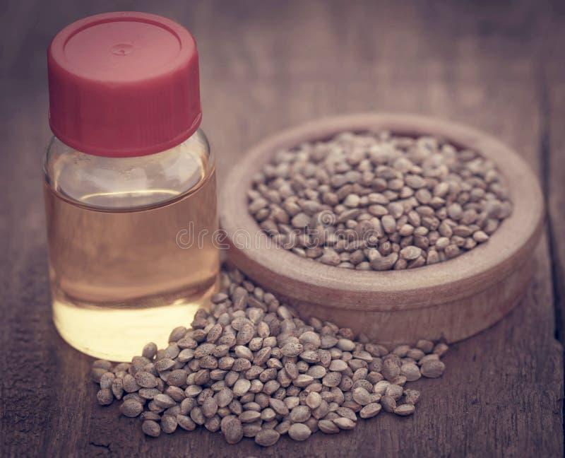 Samen des Hanfs oder des Hanfs mit ätherischem Öl in der Flasche stockbild