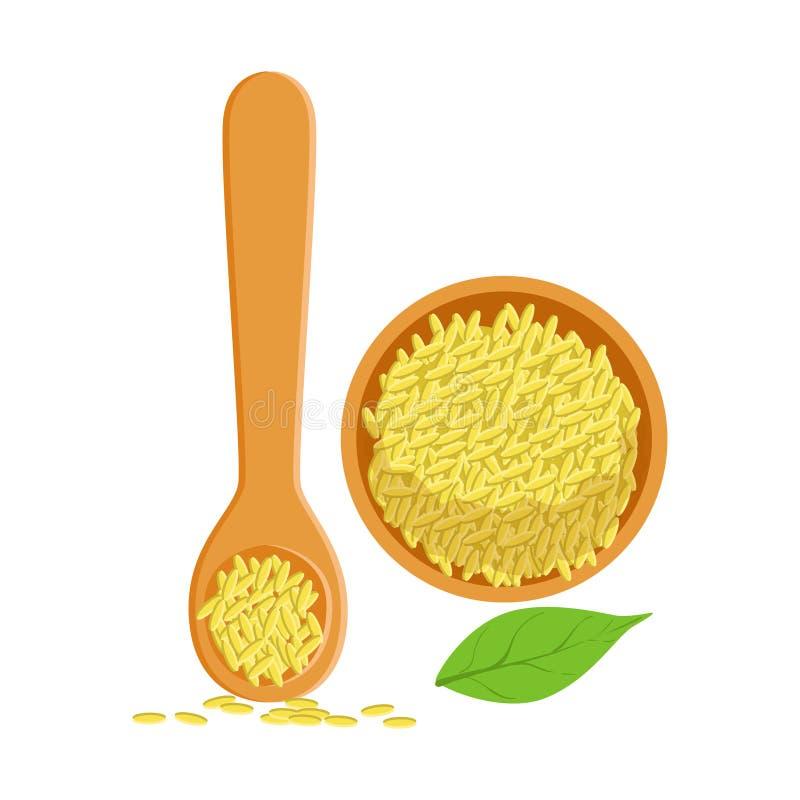 Samen des indischen Sesams in einer hölzernen Schüssel- und Löffel-, Kraut- und Gewürzauswahl Bunte Karikaturillustration vektor abbildung