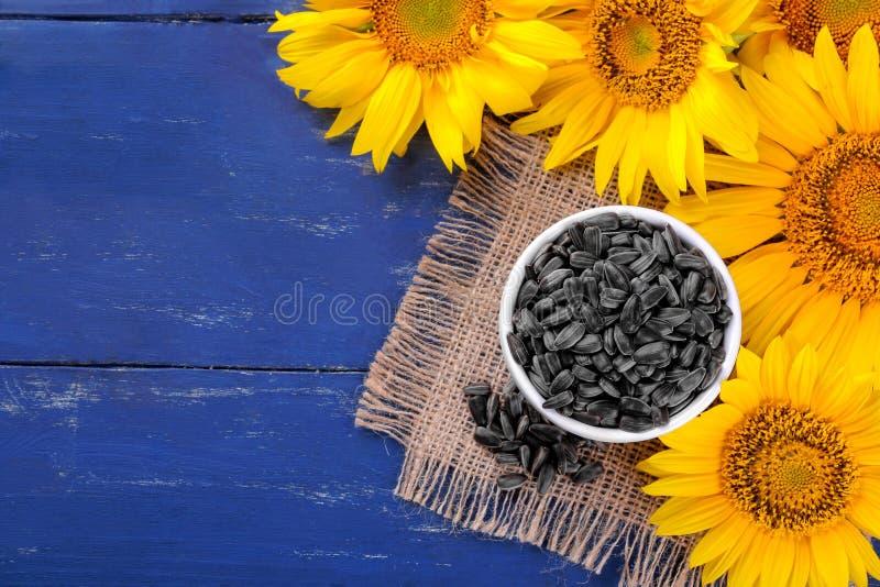 Samen in einer weißen Schüssel und in hellen gelben Sonnenblumen auf einem blauen hölzernen Hintergrund mit einem Platz für Aufsc stockfotografie