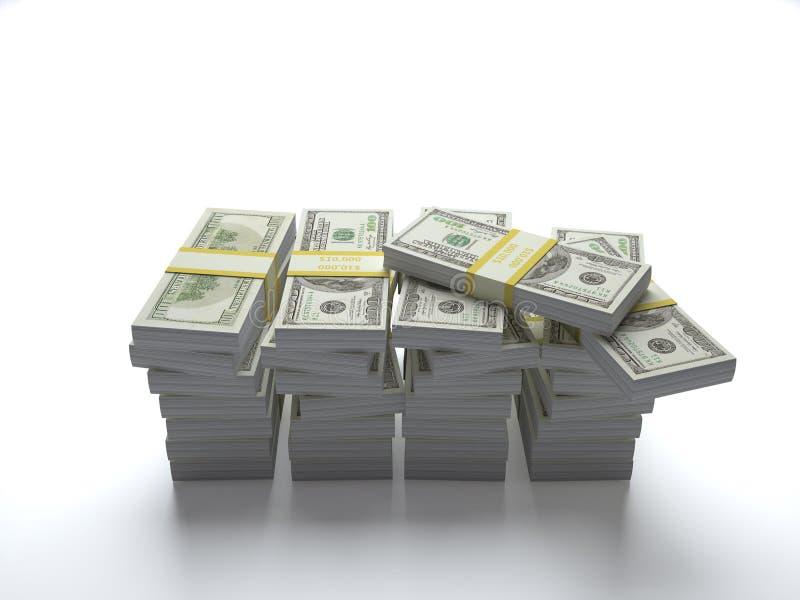 Samen gestapelde de dollars van de V.S. stock afbeeldingen