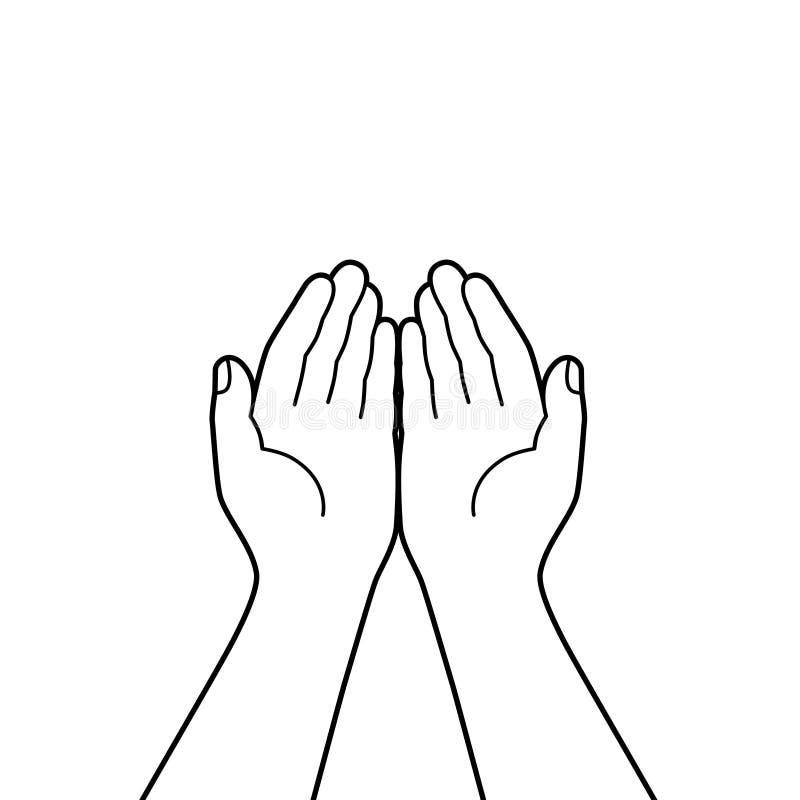 Samen tot een kom gevormde handen stock illustratie