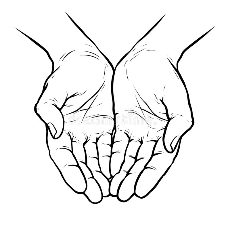 Samen tot een kom gevormde handen Schets vectordieillustratie op witte achtergrond wordt geïsoleerd vector illustratie
