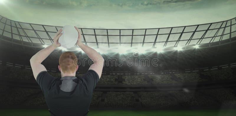 Samengesteld beeld 3D van rugbyspeler ongeveer om een rugbybal te werpen royalty-vrije stock fotografie
