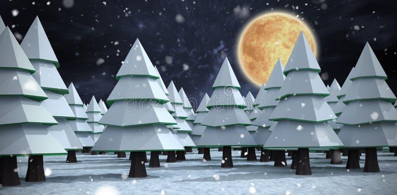 Samengesteld beeld dat van sneeuw Kerstmisbomen behandelt royalty-vrije stock afbeeldingen