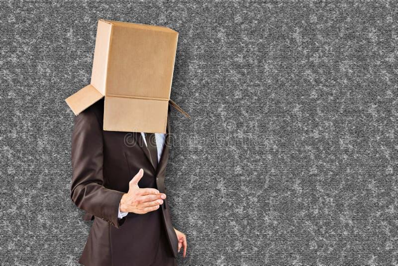 Samengesteld beeld die van anonieme zakenman zijn hand aanbieden royalty-vrije stock afbeelding