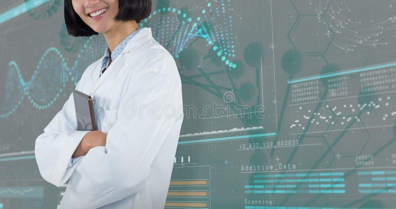 Samengesteld beeld die van arts zich met die wapens bevinden tegen witte achtergrond worden gekruist royalty-vrije stock afbeelding