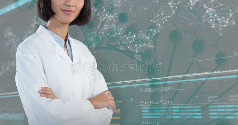 Samengesteld beeld die van arts zich met die wapens bevinden tegen witte achtergrond worden gekruist stock foto