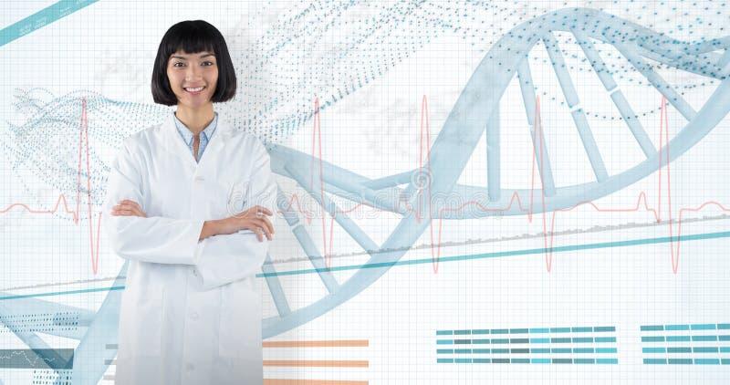 Samengesteld beeld die van arts zich met die wapens bevinden tegen witte achtergrond worden gekruist royalty-vrije stock foto