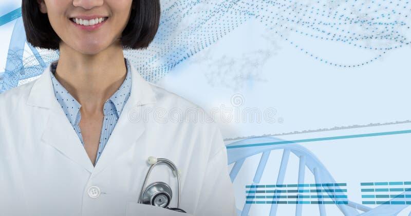 Samengesteld beeld die van arts zich tegen grijze achtergrond bevinden royalty-vrije stock afbeeldingen
