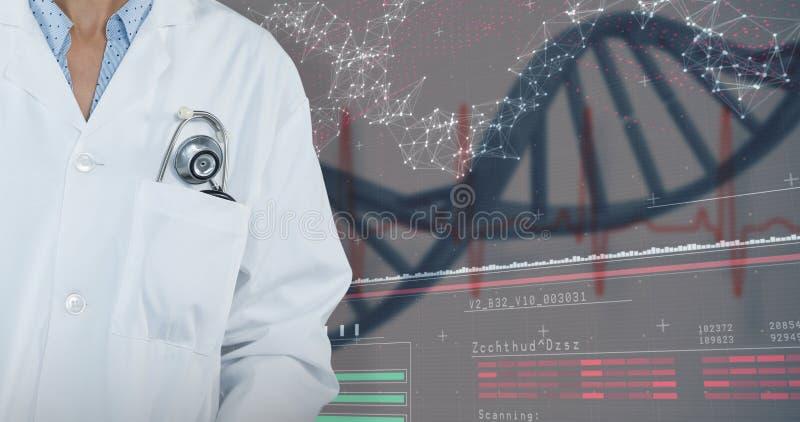 Samengesteld beeld die van arts zich tegen grijze achtergrond bevinden royalty-vrije stock fotografie