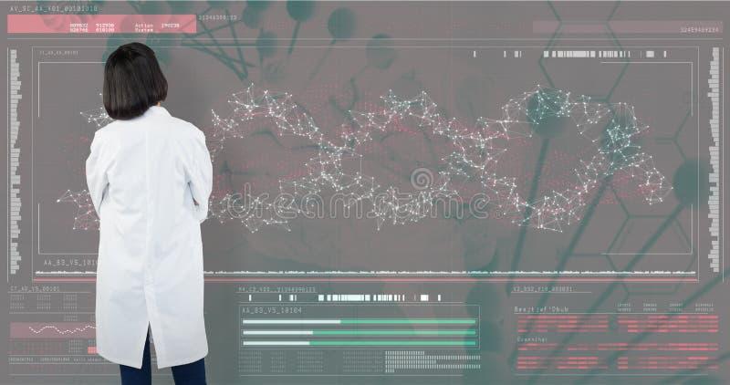 Samengesteld beeld die van arts zich tegen witte achtergrond bevinden royalty-vrije stock afbeeldingen