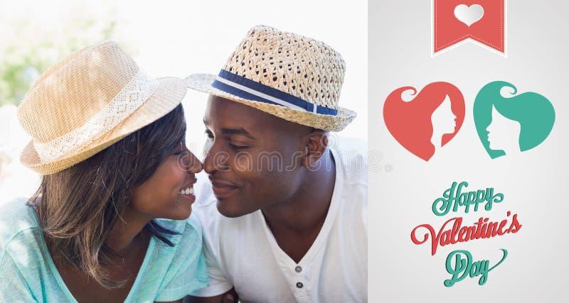 Samengesteld beeld die van gelukkig paar in tuin samen wat betreft neuzen liggen royalty-vrije illustratie
