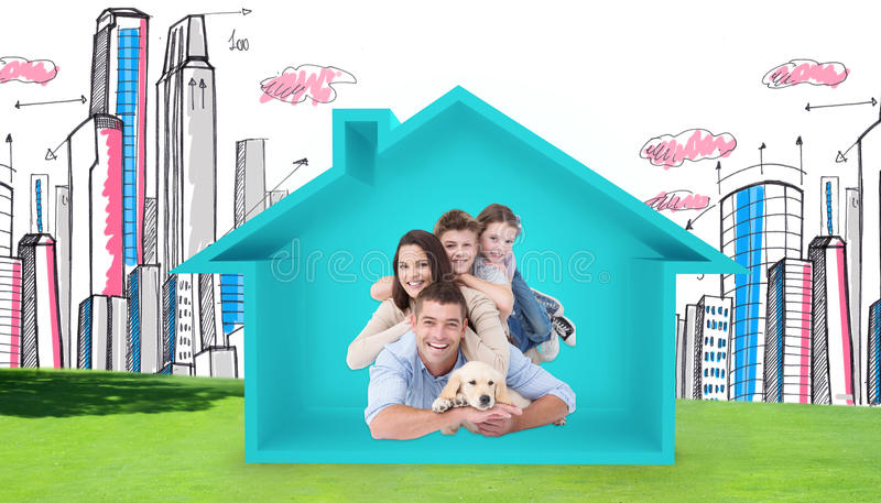 Samengesteld beeld die van gelukkige familie bovenop elkaar met hond liggen stock afbeelding