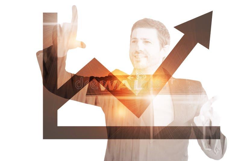 Samengesteld beeld die van gelukkige zakenman met vingers richten royalty-vrije stock afbeeldingen