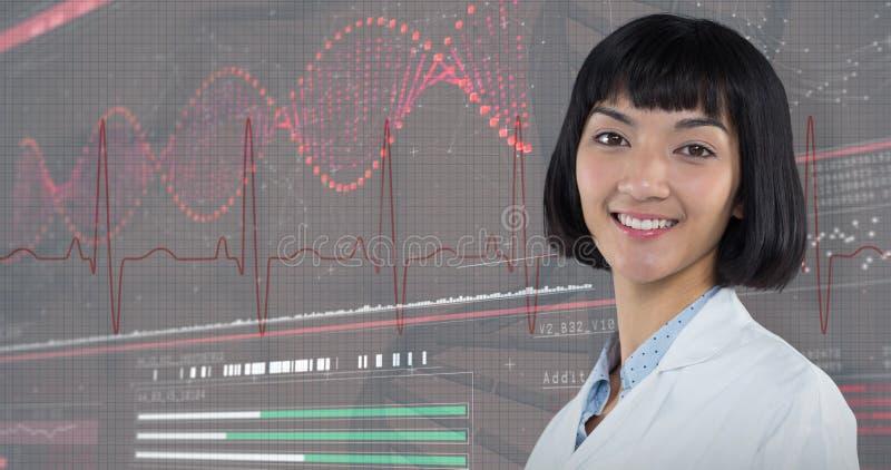 Samengesteld beeld die van glimlachende arts zich tegen witte achtergrond bevinden stock afbeeldingen
