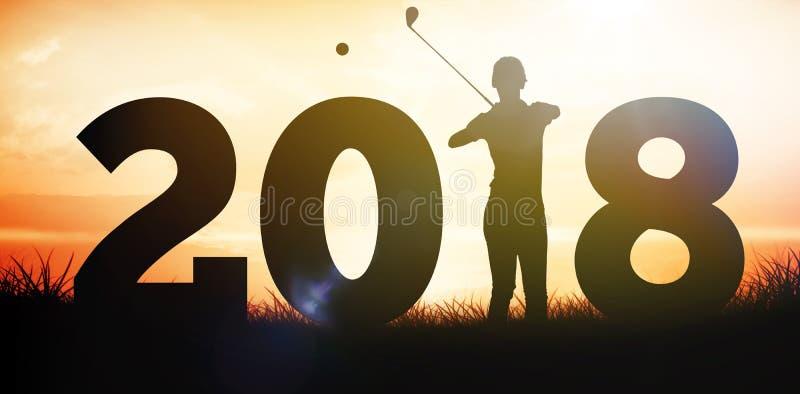 Samengesteld beeld die van golfspeler en zich met stok in handen bevinden wachten royalty-vrije stock foto