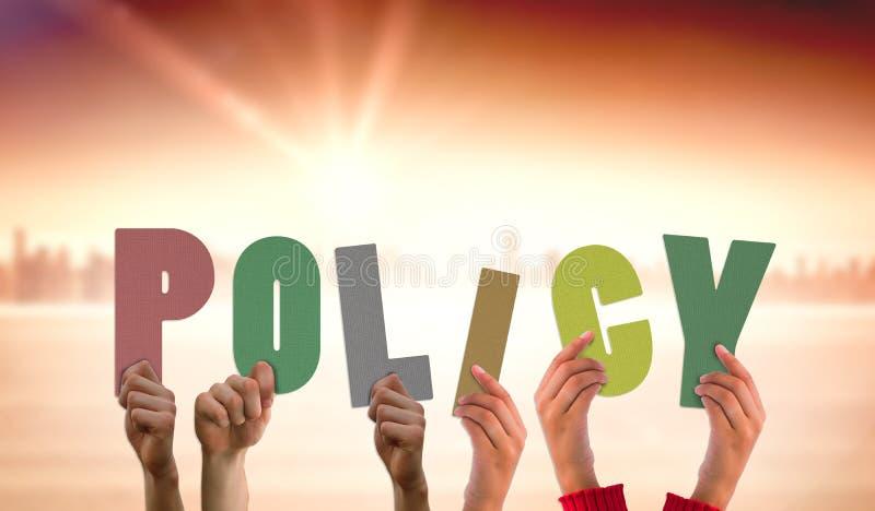 Samengesteld beeld die van handen beleid steunen royalty-vrije stock foto