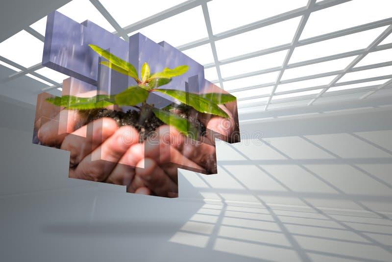 Samengesteld beeld die van handen struik op het abstracte scherm houden royalty-vrije stock afbeelding