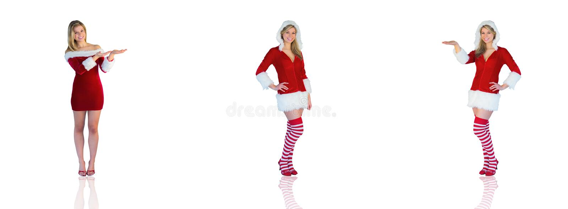 Samengesteld beeld die van mooi meisje in santauitrusting voorstellen stock foto