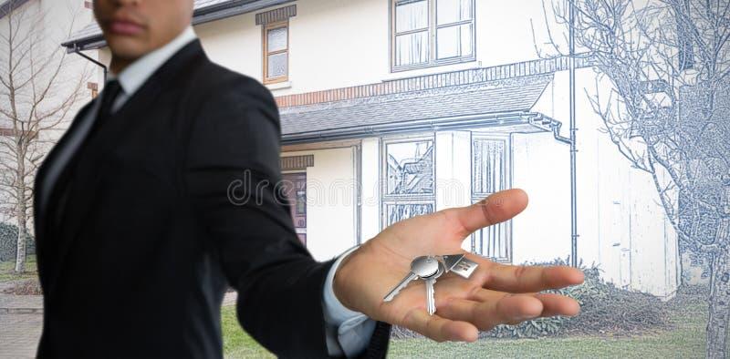 Samengesteld beeld die van zekere zakenman hand tonen tegen witte achtergrond stock fotografie