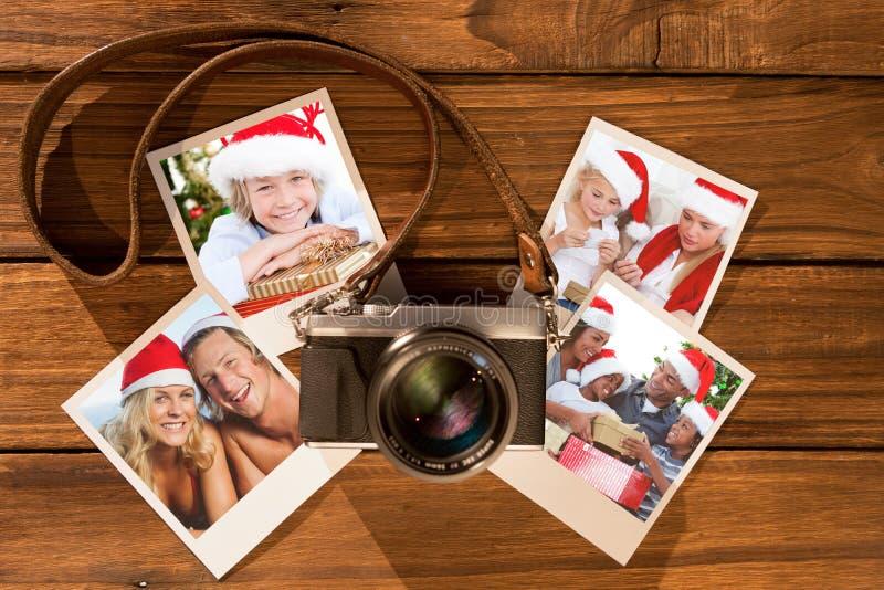 Samengesteld beeld van aanbiddelijke kind het vieren Kerstmis royalty-vrije stock afbeelding