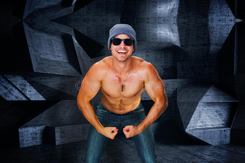 Samengesteld beeld van aantrekkelijke bodybuilder vector illustratie