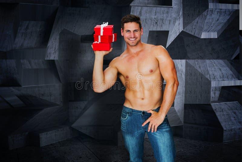 Samengesteld beeld van aantrekkelijke bodybuilder stock illustratie