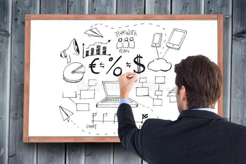 Samengesteld beeld van achtermening van zakenman het schrijven met een wit krijt stock fotografie
