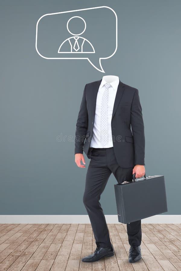 Samengesteld beeld van aktentas de zonder hoofd van de zakenmanholding royalty-vrije stock afbeelding