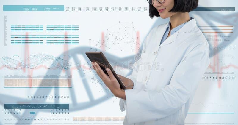 Samengesteld beeld van arts die digitale tablet gebruiken tegen witte achtergrond stock foto