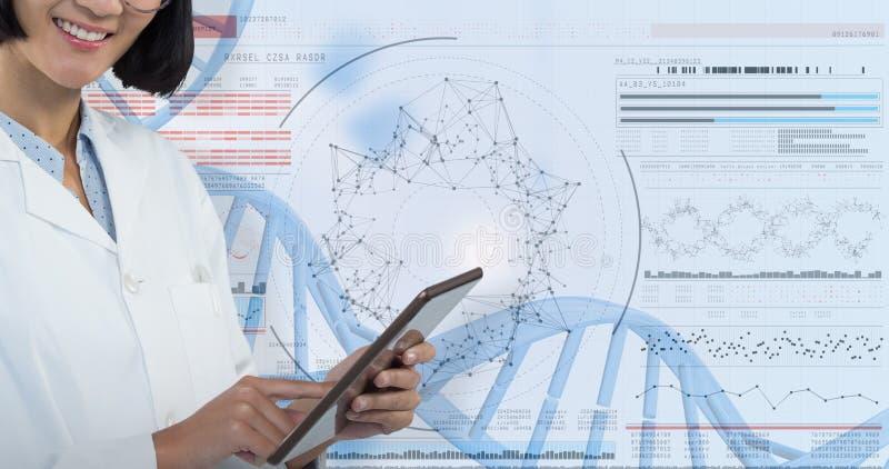 Samengesteld beeld van arts die digitale tablet gebruiken tegen witte achtergrond stock afbeeldingen