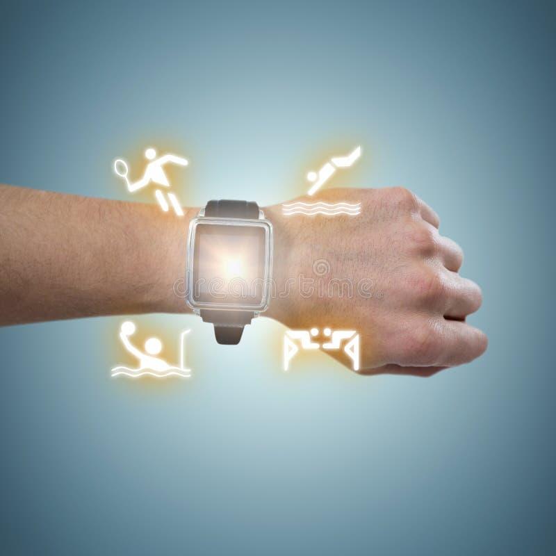 Samengesteld beeld van bebouwd beeld van de mens die horloge dragen royalty-vrije stock foto