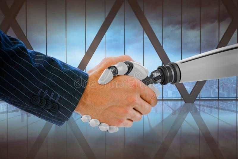 Samengesteld beeld van bebouwde hand van zakenman die robot behandelen stock afbeeldingen