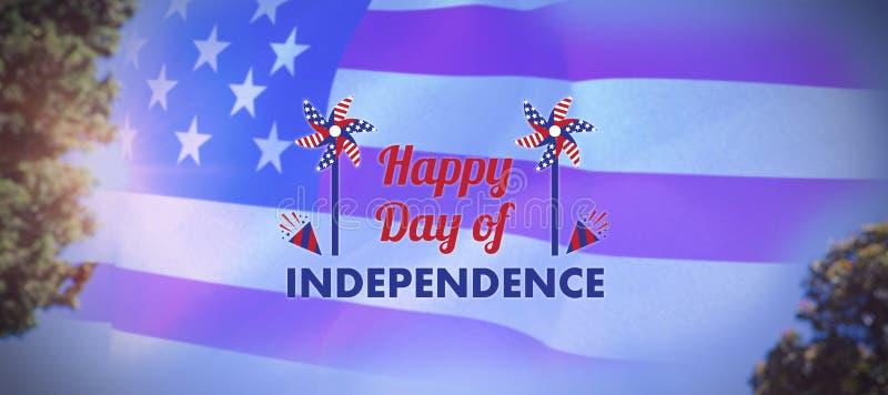Samengesteld beeld van beeld van de gelukkige teksten van de onafhankelijkheidsdag met decoratie stock illustratie