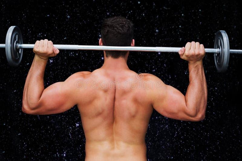Samengesteld beeld van bodybuilder die barbell opheffen vector illustratie