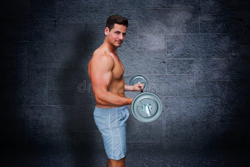 Samengesteld beeld van bodybuilder die barbell opheffen royalty-vrije illustratie