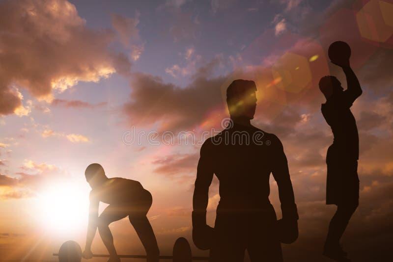 Samengesteld beeld van bodybuilder die zware barbellgewichten opheffen stock illustratie