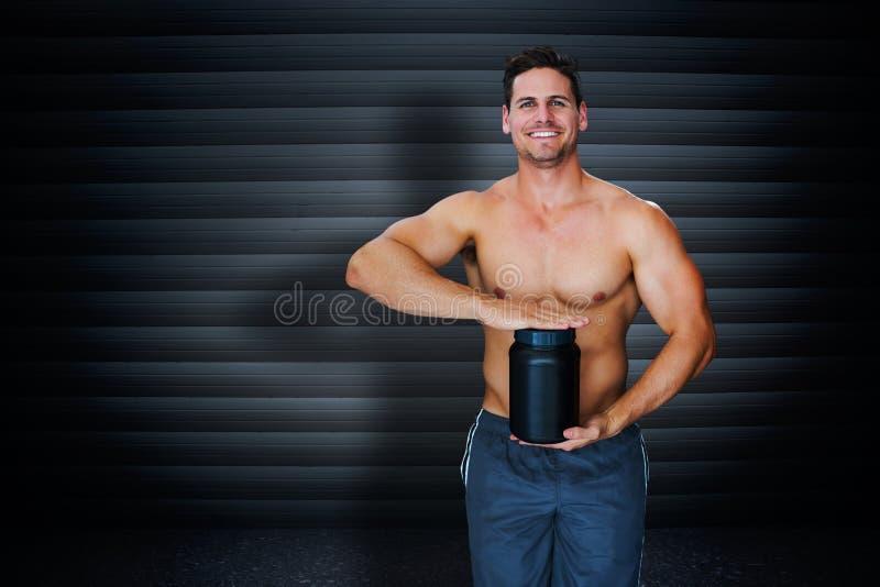 Samengesteld beeld van bodybuilder met eiwitpoeder stock illustratie