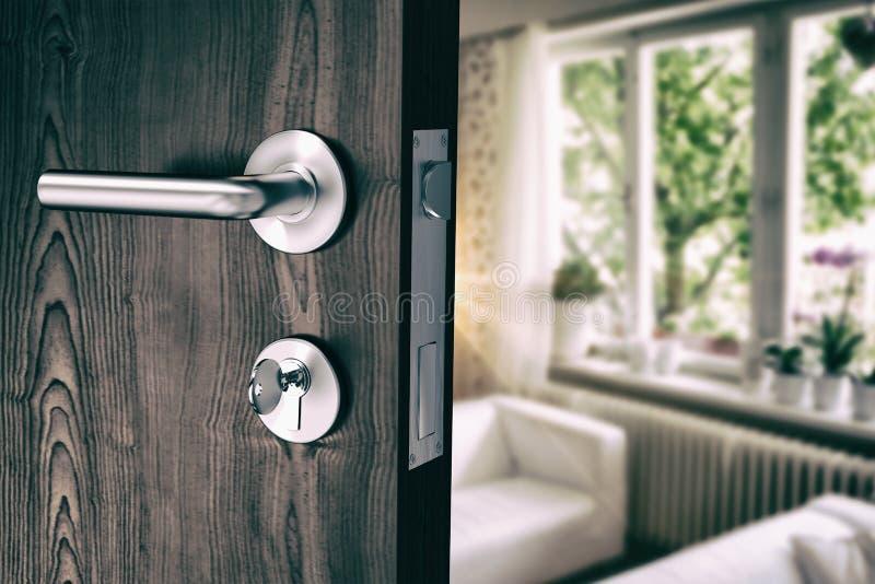 Samengesteld beeld van bruine deur met metaaldeurknop en slot royalty-vrije stock foto