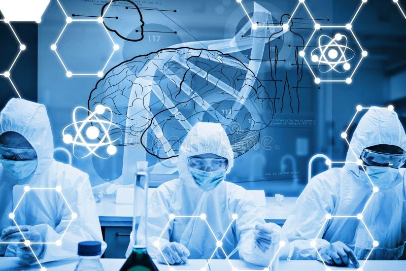 Samengesteld beeld van chemici die in beschermend kostuum met futuristische interface werken die DNA tonen royalty-vrije illustratie