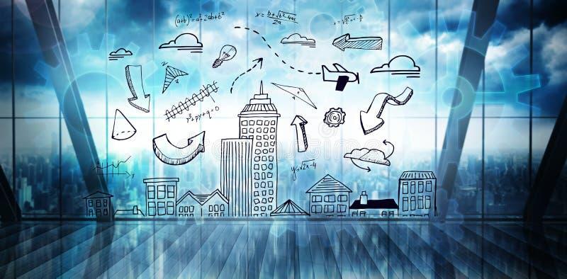 Samengesteld beeld van cityscape krabbel stock illustratie