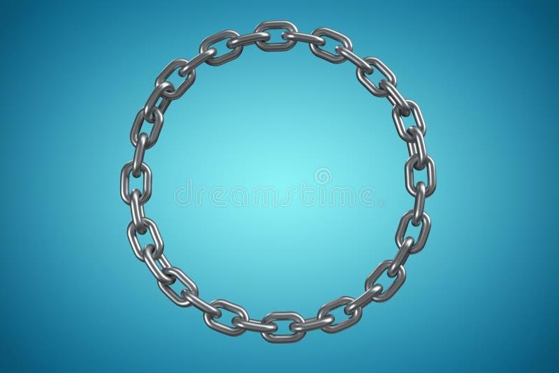 Samengesteld beeld van 3d beeld van glanzende metaal cirkelketting stock illustratie