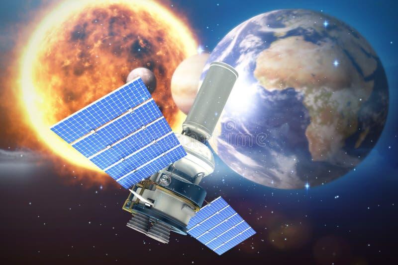 Samengesteld beeld van 3d beeld van moderne zonnemachtssatelliet tegen witte achtergrond stock illustratie