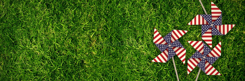 Samengesteld beeld van 3d beeld van vuurradstuk speelgoed met Amerikaans vlagpatroon royalty-vrije illustratie