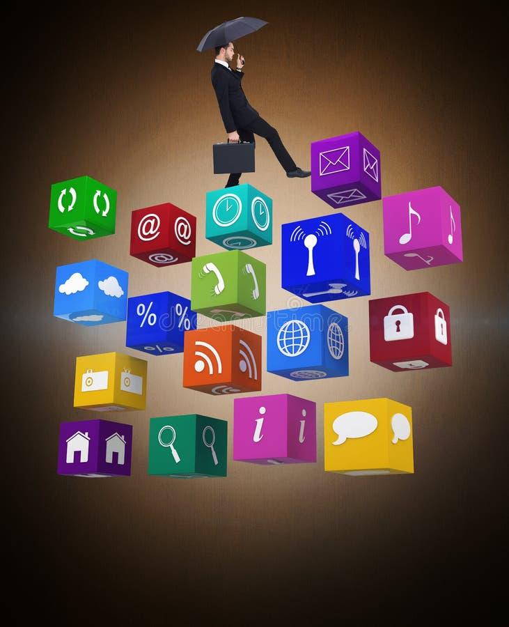 Samengesteld beeld van de aktentas van de zakenmanholding onder paraplu royalty-vrije stock afbeelding