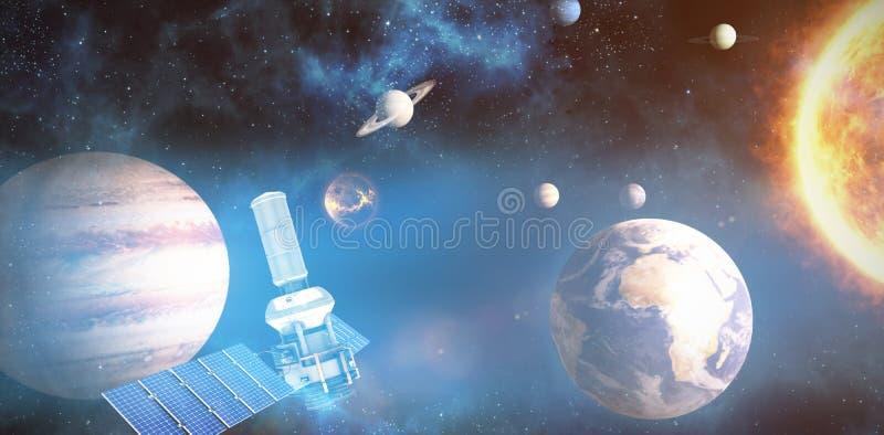 Samengesteld beeld van de digitaal geproduceerde satelliet van de beeldofâ 3d moderne zonnemacht vector illustratie