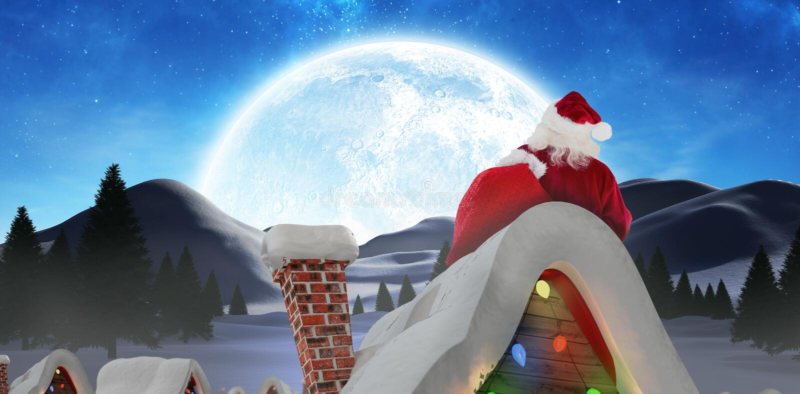 Samengesteld beeld van de dragende zak van de Kerstman stock foto's